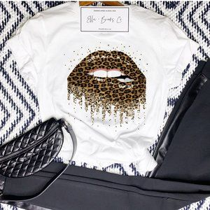 Leopard Print Dripping Lips Graphic t shirt NEW
